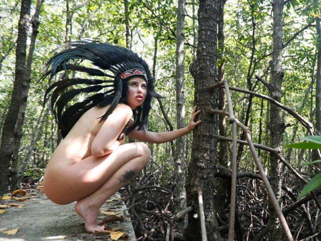 Squatting naked outdoors