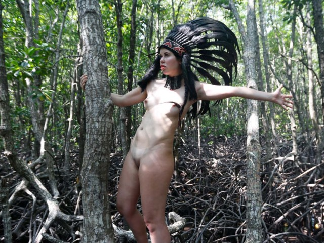 Tree hugger nude in the woods