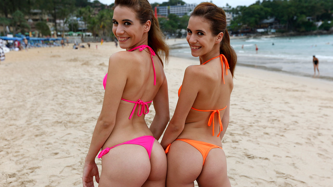 Hungarian Twins in thong bikini photoshoot and fuck