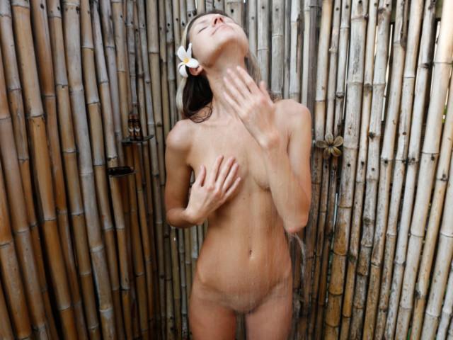 Girl showering outside