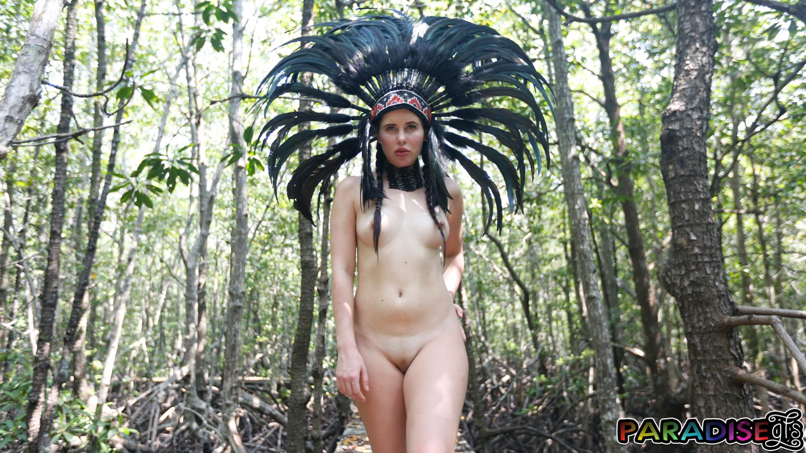 Nude nymph forest wood with