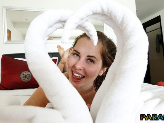 Fun girlfriend in hotel on Holiday
